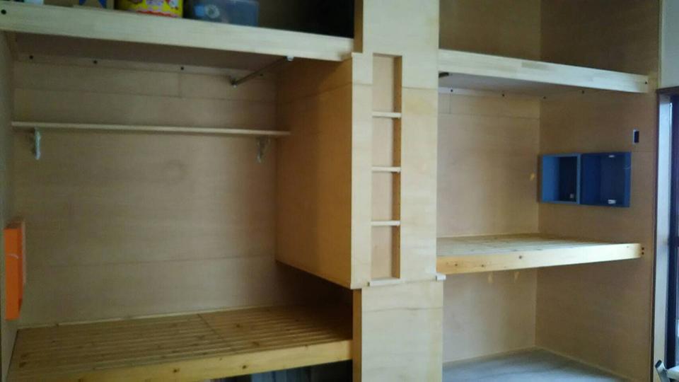 兄妹ベッドスペース押し入れ改造