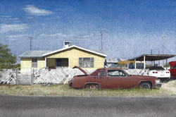 Yellow House and Cadillac in Fort Stockton, TX