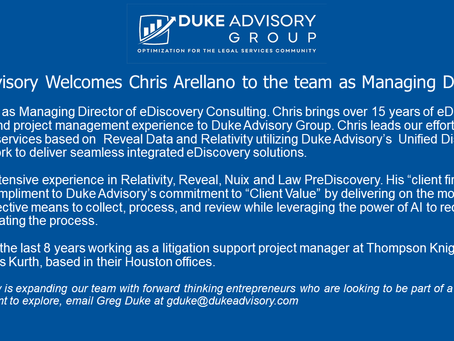 Chris Arellano Joins Duke Advisory Group as Managing Director of eDiscovery Consulting