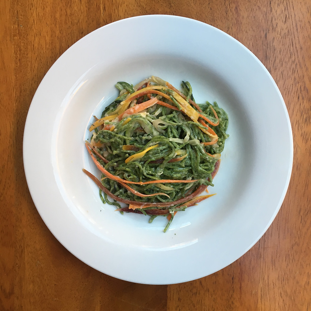 Springtime spaghetti with julienned vegtables and spinach linguine, 100 days of pasta