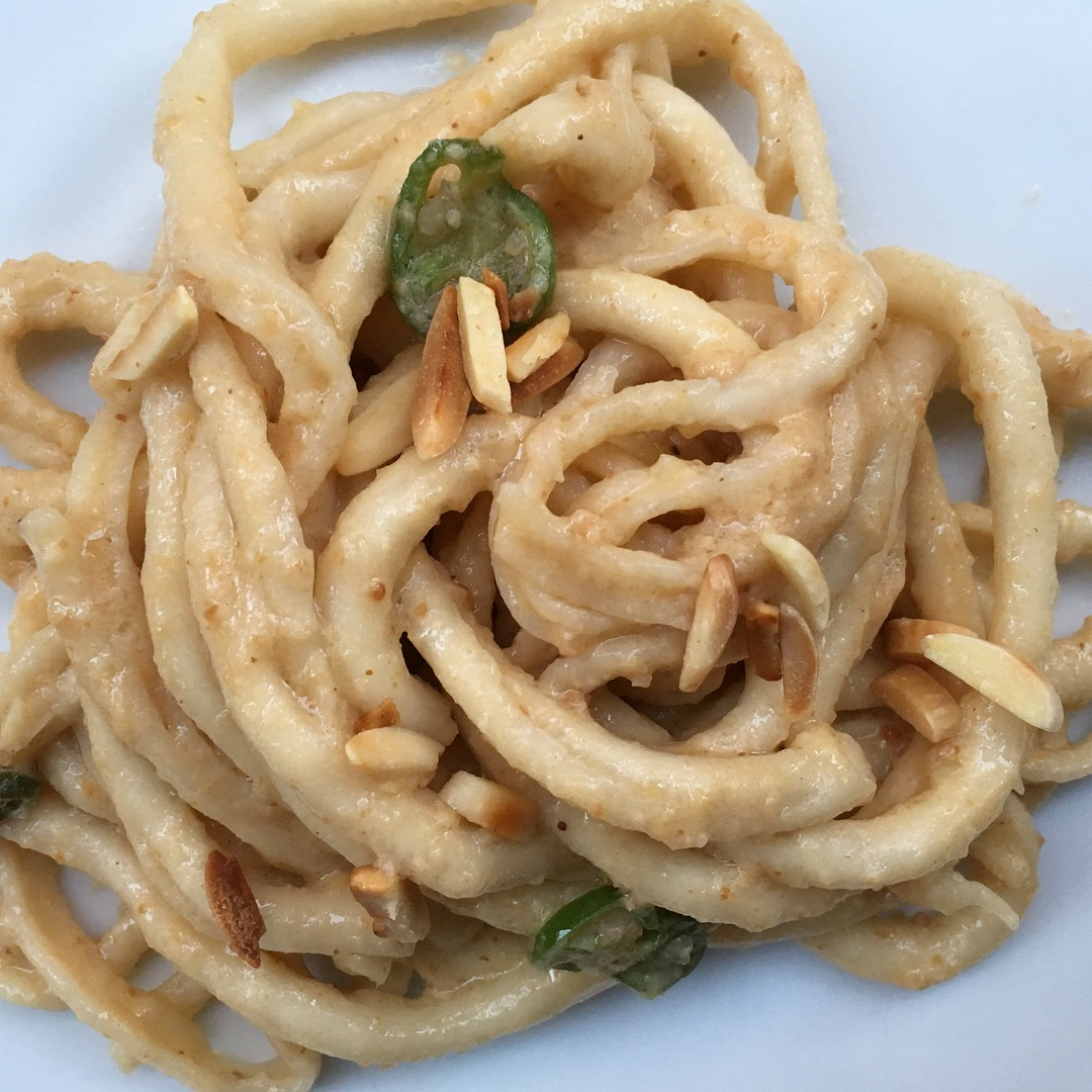 bucatini with almond pesto
