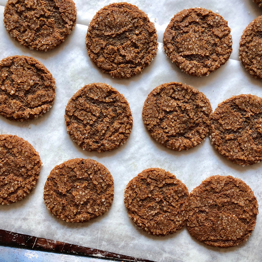 Tray of molasses chewy ginger cookies