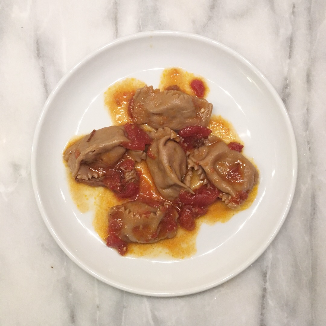 red wine agnolotti w/braised beef