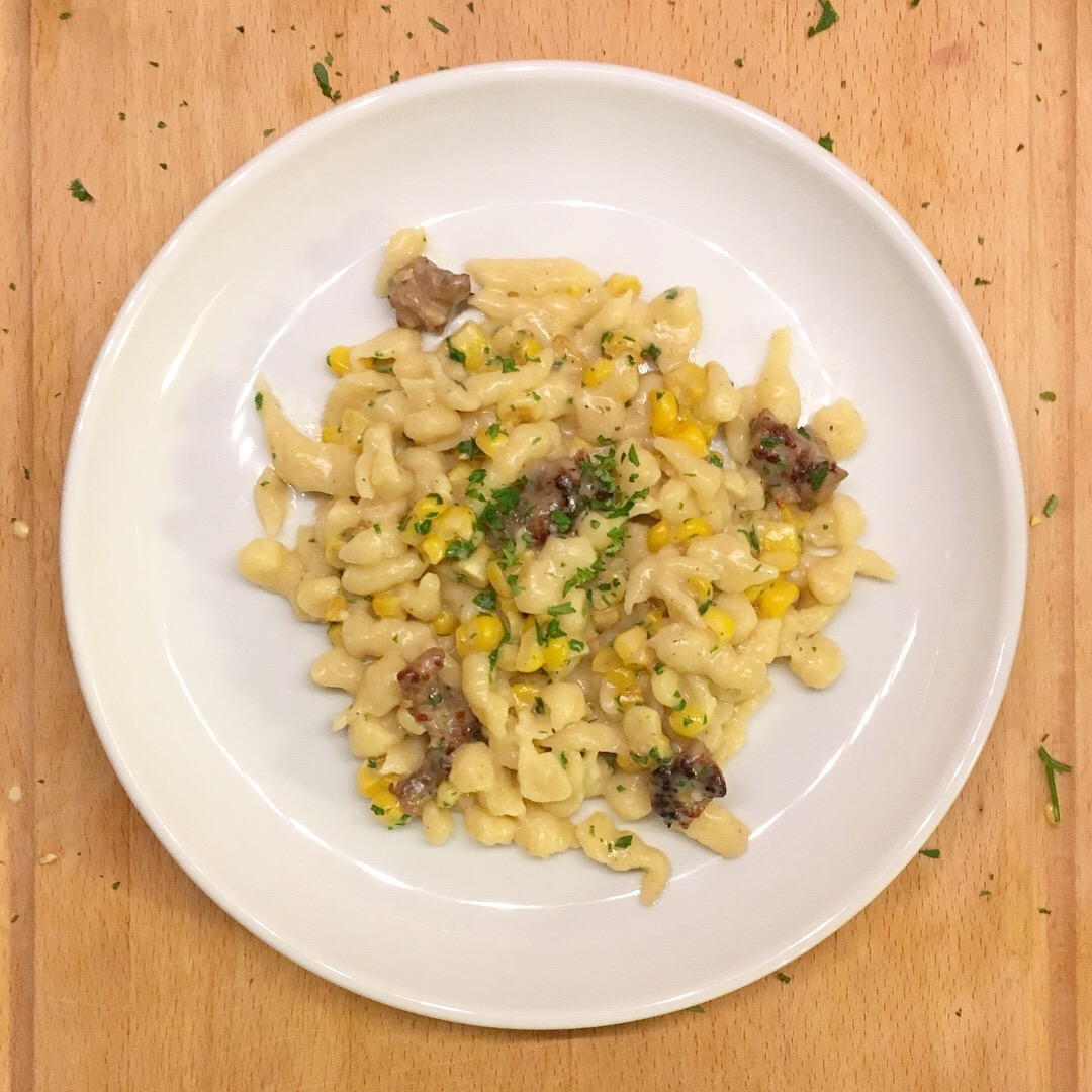 Spaetzle with sweet corn and sausage, 100 days of pasta_