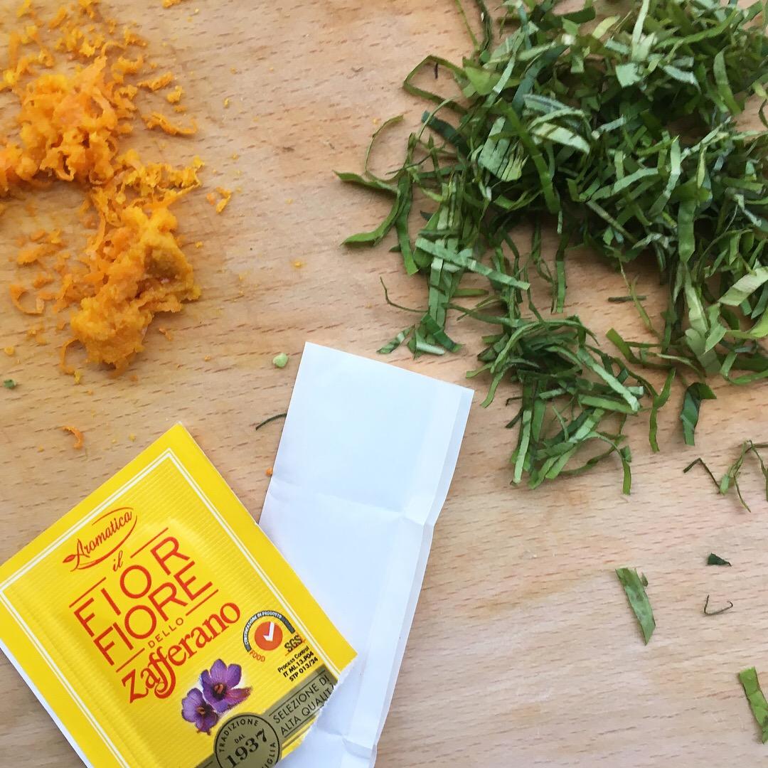 saffron, basil and orange zest