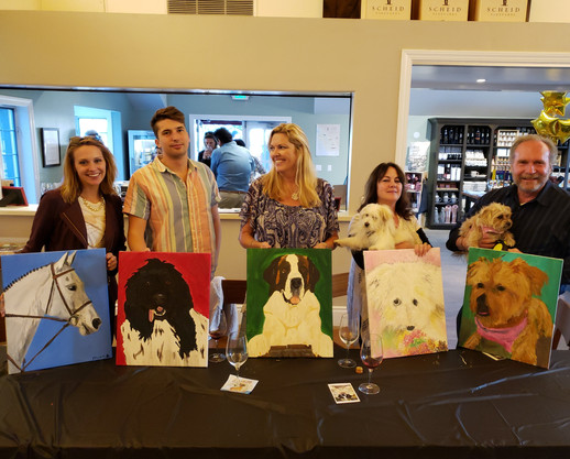 Sweet family brought their pups to paint at Scheid's pet friendly tasting room.