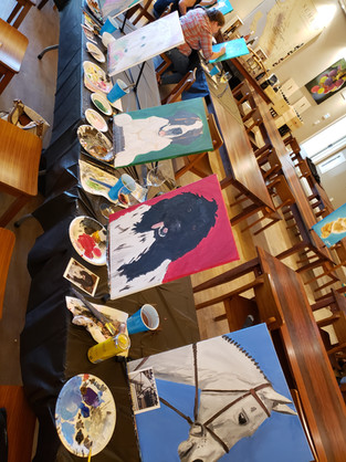 Paint Your Pet Day. Hosted at Scheid Tasting Room in Greenfield.