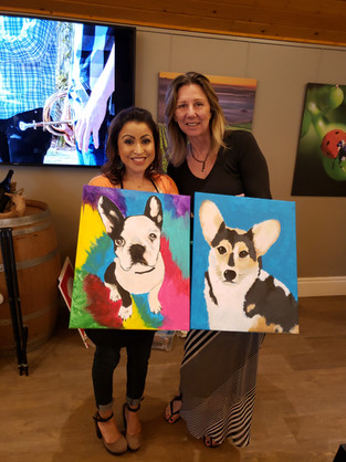 Girls paint date. LOVE the multi color background!