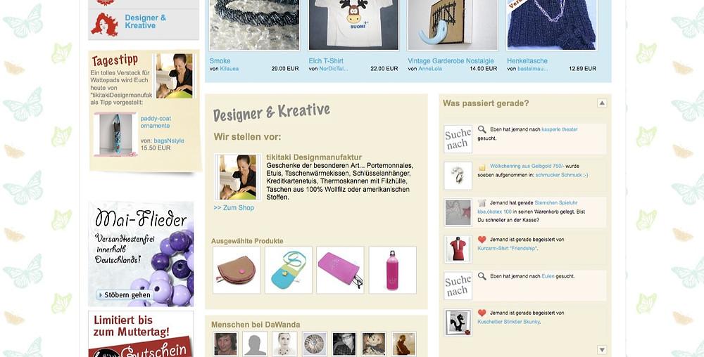 Screenshot der Startseite von DaWanda mit Feature für tikitaki