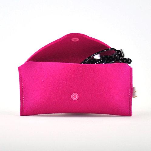 Glasscontainer DeLuxe ° Pink °Brillenetui ° Wollfilz