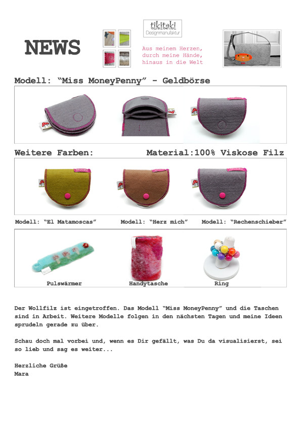 Screenshot eines Newsletters mit 3 Geldbörsen und weiteren Artikeln .