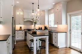 Remodeled modern kitchen black and white