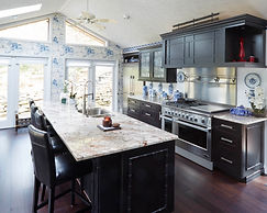 Remodeled Kitchen, Asian inspired with white and blue pottery designs