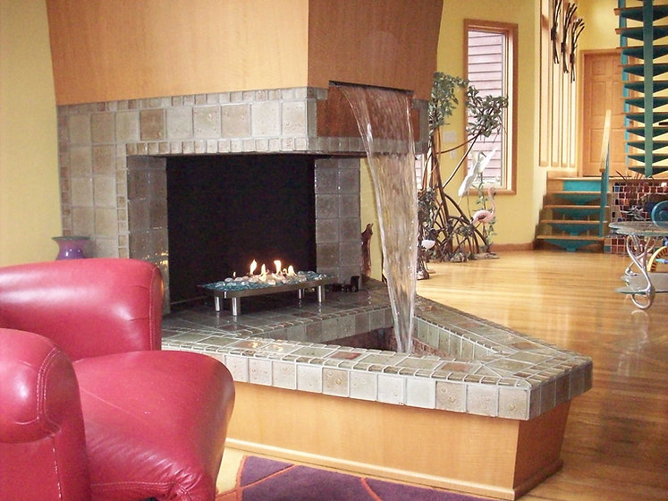 Waterfall Fireplace mantle
