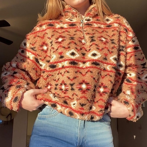 Printed Sherpa sweater