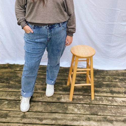 Plus Size Distressed Denim Jean