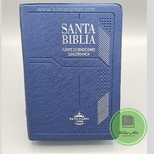 Biblia Compacta Reina Valera 1960 Vinil Azul Indices y Ayudas