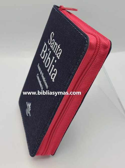 Biblia Juvenil Jean de Promesas pequeña Reina Valera 1960 fucsia con indice