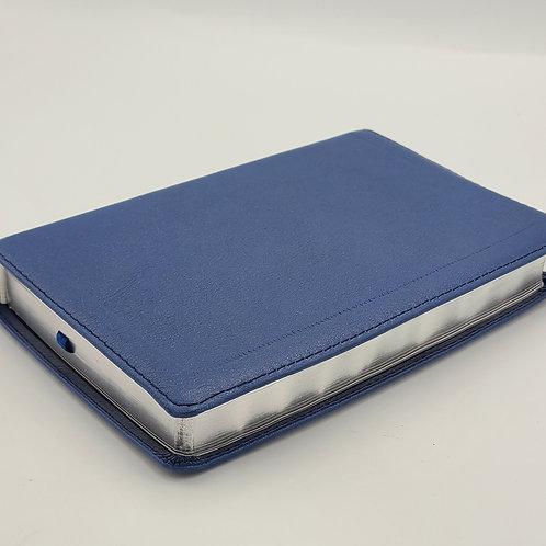 B. Compacta Letra Grande RVR1960 Piel genuina Azul duque