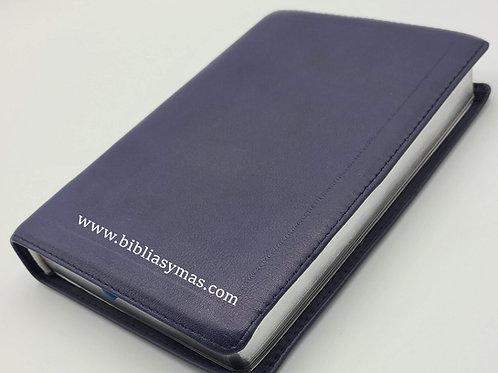 B. Compacta Letra Grande RVR1960 Piel genuina Azul Marino
