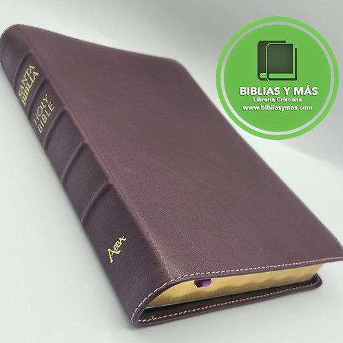 Biblia bilingue RVR/NKJV Piel 100% Genuina MORADO