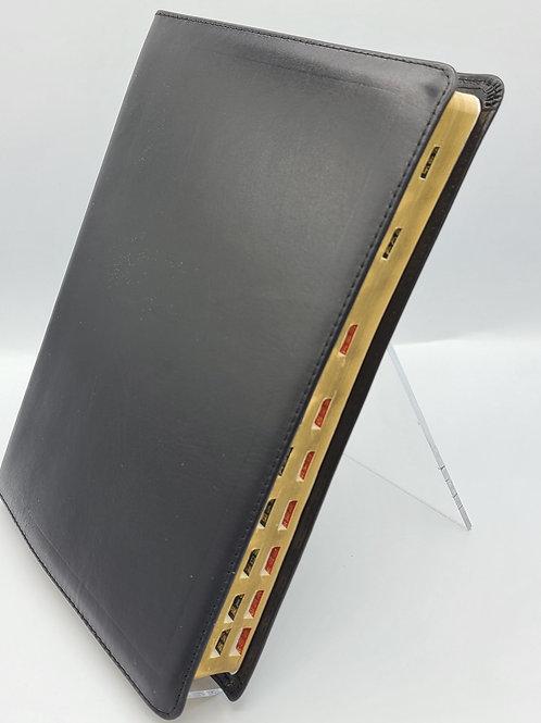 Biblia Letra Gigante 14 Puntos Piel Genuina Abba Negro Index