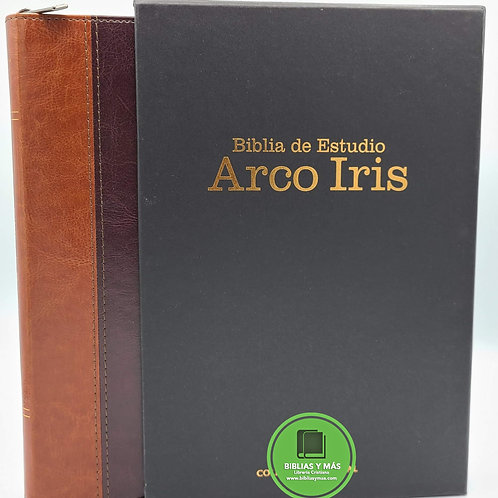 Biblia de estudio Arcoiris Duotono ziper e index