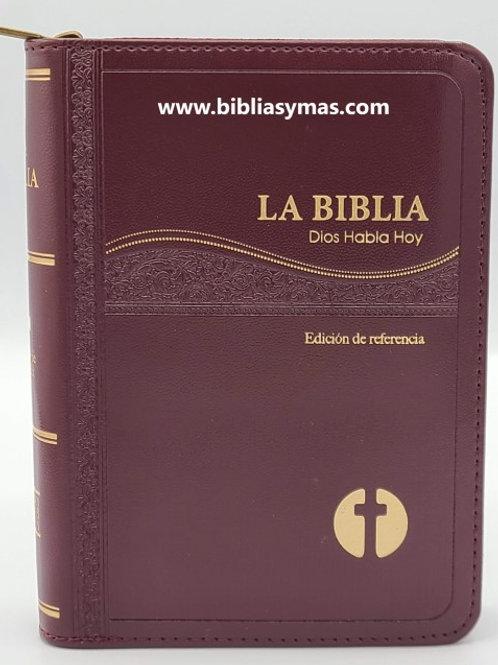 BIBLIA CATOLICA COMPACTA DIOS HABLA HOY IMITACION PIEL VINO DORADO CON C
