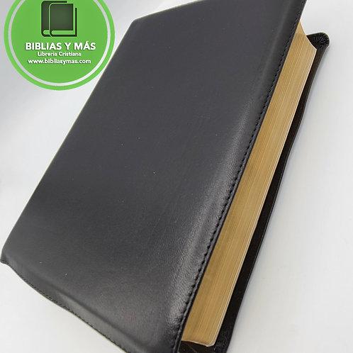 Biblia De Estudio Letra Grande Diario Vivir Piel 100% Genuina Negro RVR1960