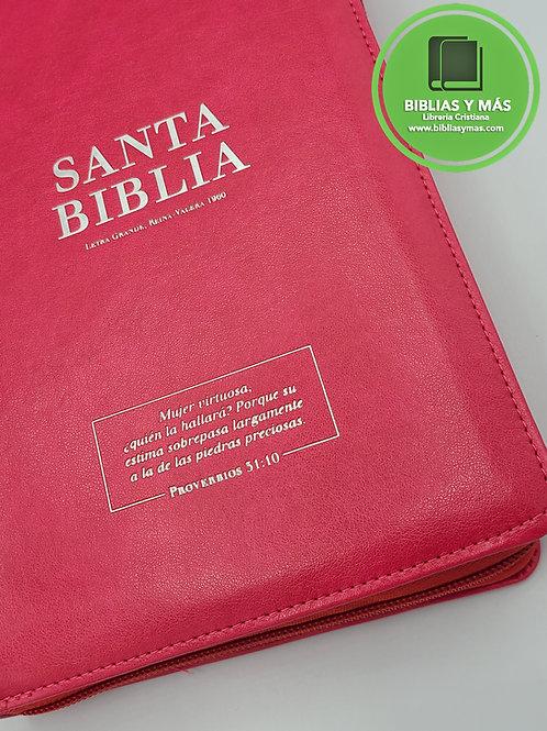 Biblia Letra Grande Reina Valera 1960 Zipper e Index Fucsia