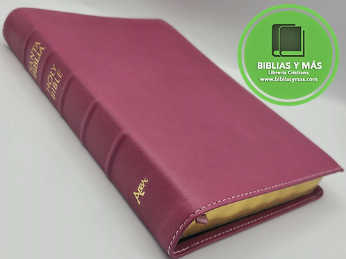 Biblia bilingue RVR/NKJV Piel 100% Genuina FUCSIA