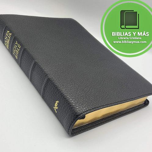 Biblia bilingue RVR/NKJV Piel 100% Genuina Negro