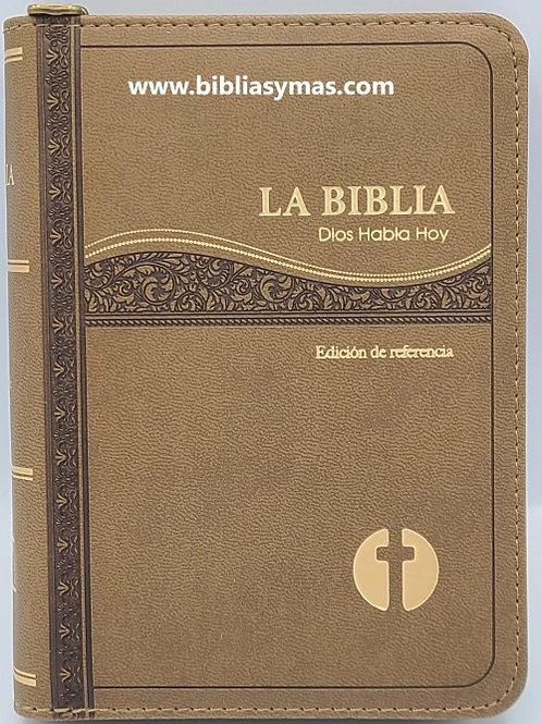 BIBLIA CATOLICA COMPACTA DIOS HABLA HOY IMITACION PIEL CAFE DORADO CON CIERRE