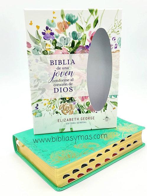 Biblia de estudio de una joven conforme al corazon de Dios Verde Floral Index