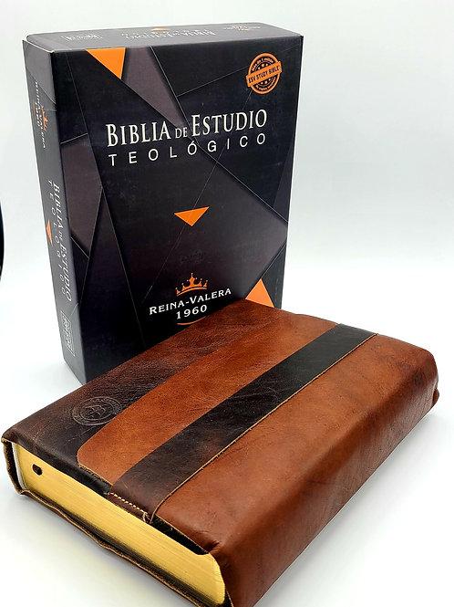 Biblia De Estudio Teologico Reina Valera 1960 Piel Genuina tipo Journal