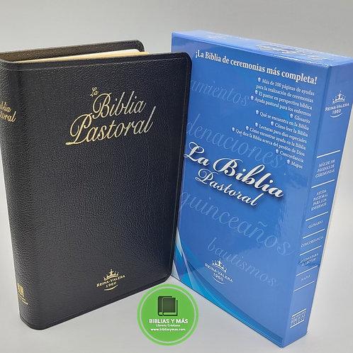 Biblia Pastoral RVR1960 Letra grande Piel Negro con Indices