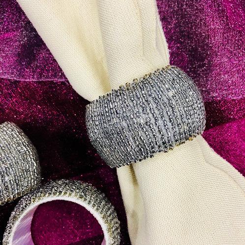 Silver Beaded Napkin Rings