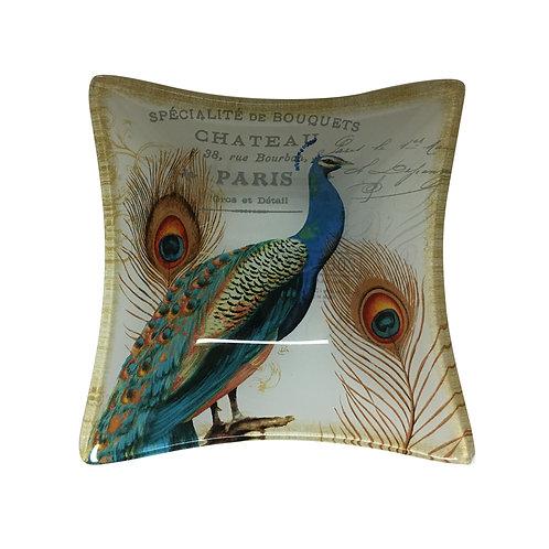 Peacock Glass Jewel Tray