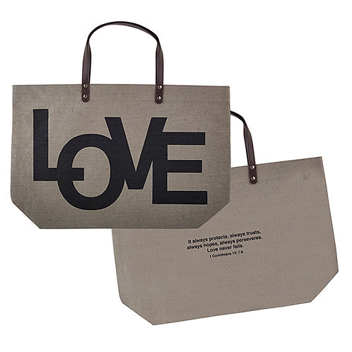 LOVE / 1 Corinthians 13:7-8 Jute - Tote Bag