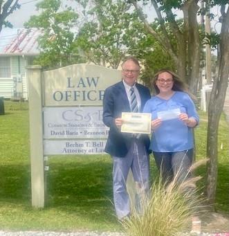 Hancock High Senior earns scholarship from local attorney Brehm Bell