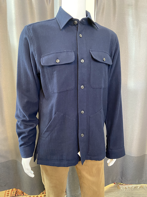 Haupt Navy Flannel with Side Pockets 10708