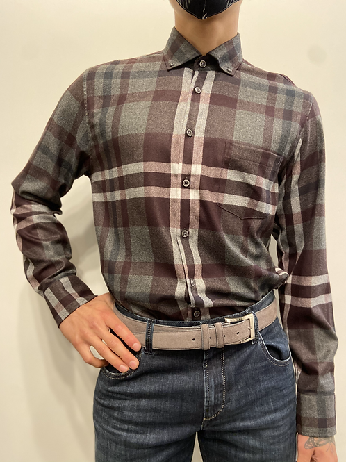 Haupt Maroon and Grey Check Flannel 30505