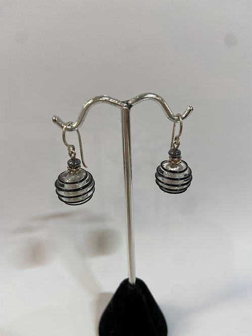 Black Swirl Murano Glass Earrings