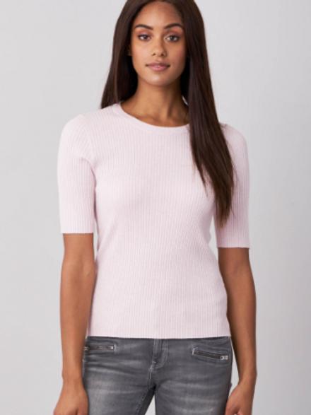 REPEAT Rib Knit Short Sleeve Sweater