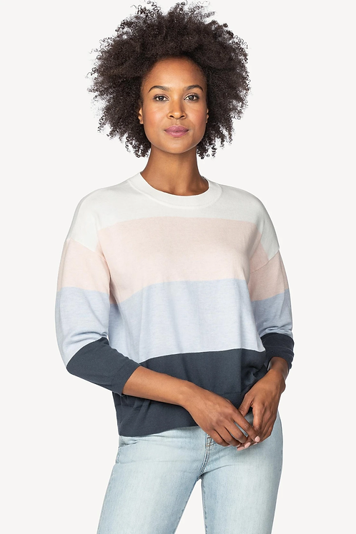 PA1368 Lilla P Oversized Jewel Neck Sweater in Iced Navy