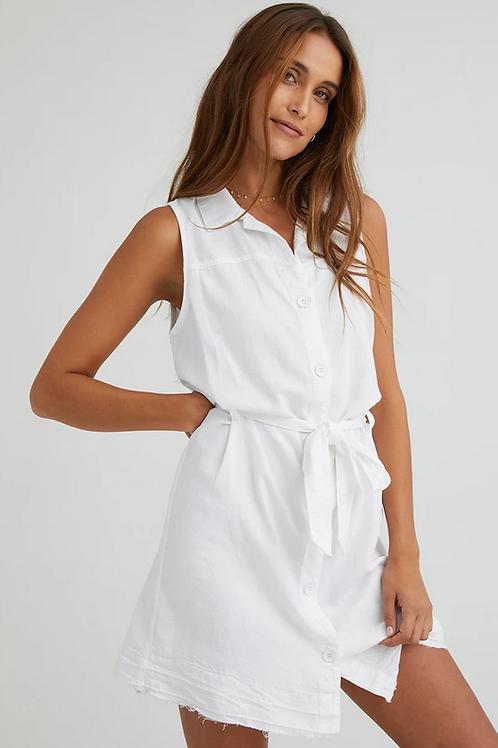 Bella Dahl Released Hem Sleeveless Belted Dress in White - B6932-B71-396