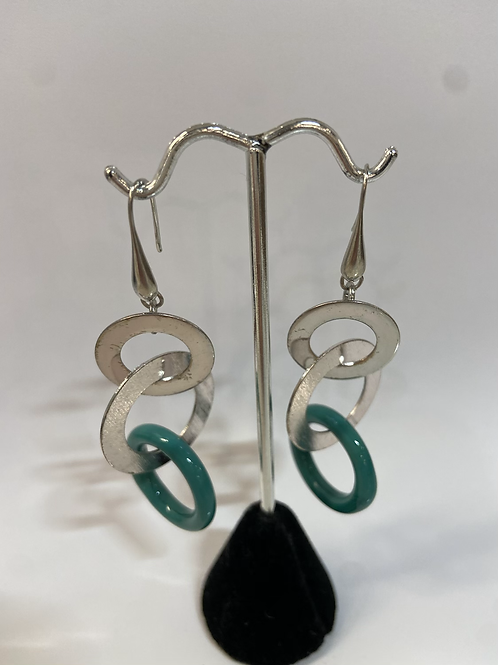 Silver + Green Murano Glass Earrings