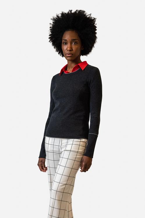Ecru Slim Crew Neck Sweater in Dark Charcoal 9200SW