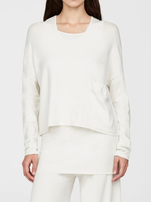 Sarah Pacini Cropped Pocket Sweater in Off-White - 61005