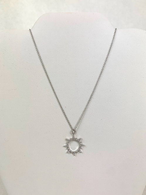 Silver Sun Necklace with Gems